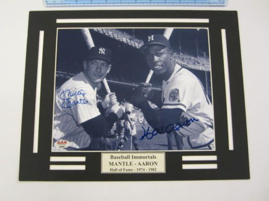 MICKEY MANTLE & HANK AARON Signed Autographed Matted Photo Certified CoA