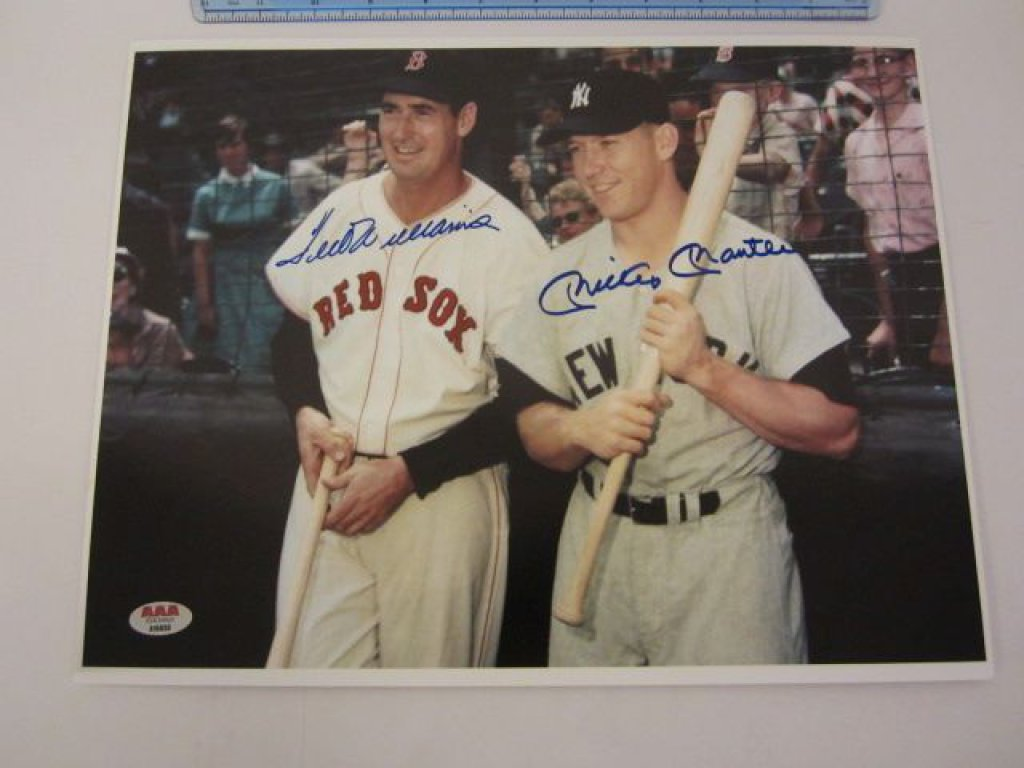 TED WILLIAMS & MICKEY MANTLE Signed Autographed 11x14 Photo Certified CoA