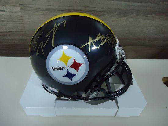 628d0f6feaf Antonio Brown Ben Roethlisberger Pittsburgh Steelers Signed mini helmet  Certified COA