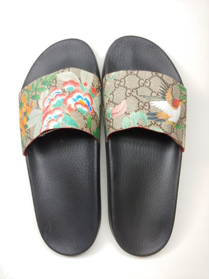 b27ba47dd Mens Designer Gucci Black Tian Hummingbird Canvas Slides Sandals Size 8