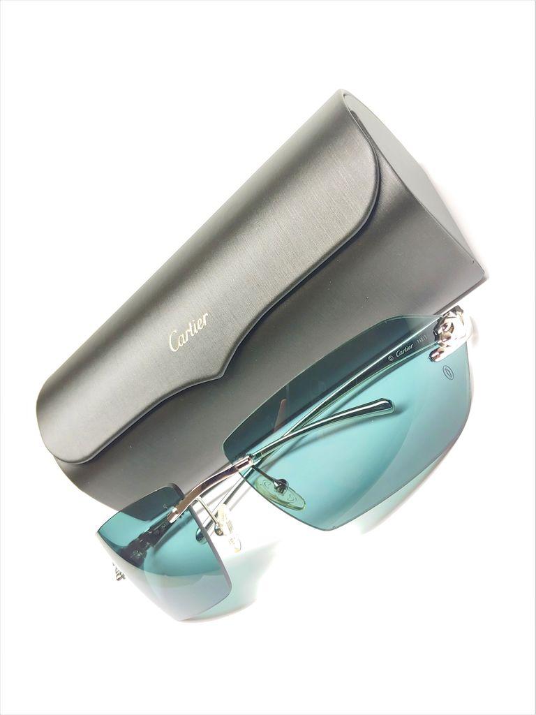 12f3ec033980d ... Designer Cartier 110 Panthere Rimless Frame Turquoise Lens Sunglasses w   Case ...