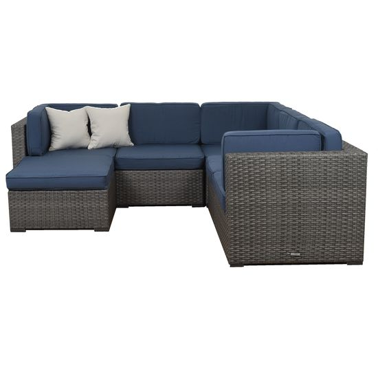 6 PIECE SECTIONAL  SET -    GREY WICKER & ALUMINUM FRAMES