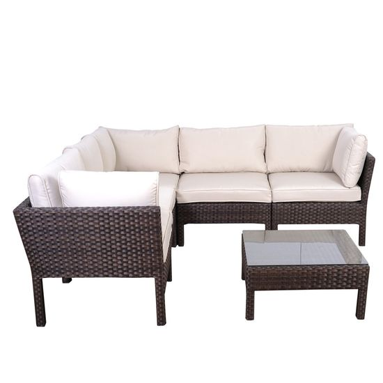 6 PIECE SECTIONAL  SET -    BROWN WICKER & ALUMINUM FRAMES