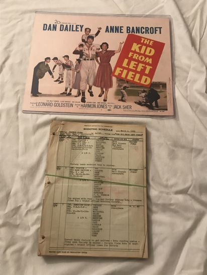 """Original Shooting Schedule, Screenplay and Movie Poster for """"The Kid From Left Field""""."""