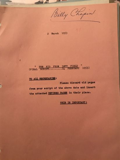 """Revision pages of the Final Draft - an original screenplay for """"The Kid From Left Field"""""""