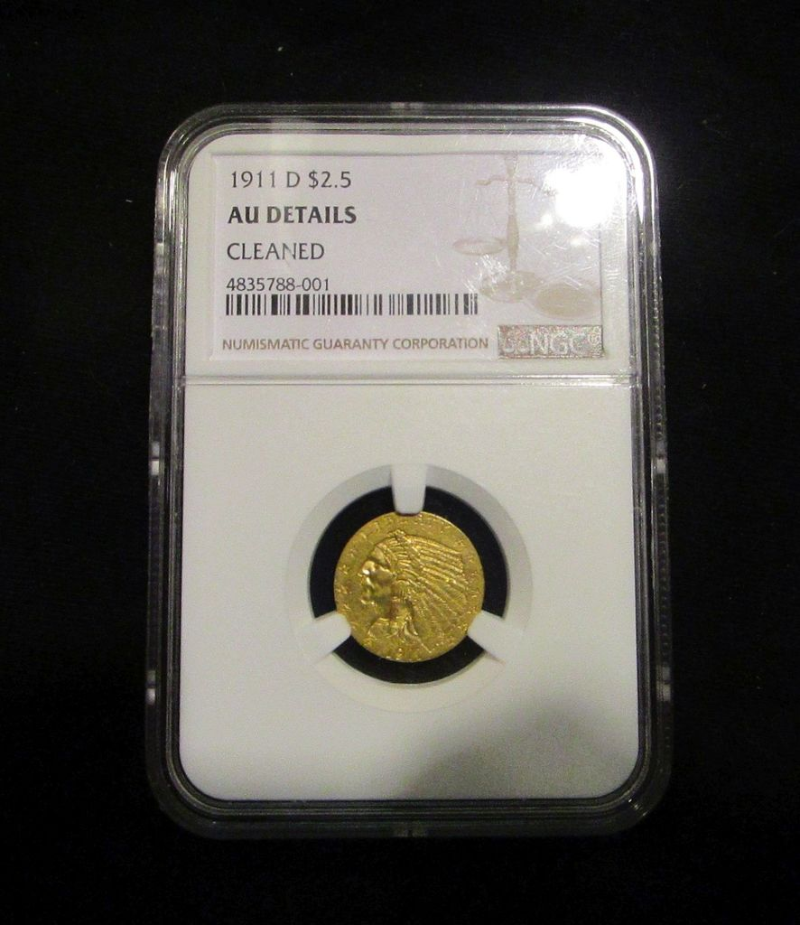 1911D - US -Gold - 2.5 Dollars - Cleaned - Graded by NGC - AU Details