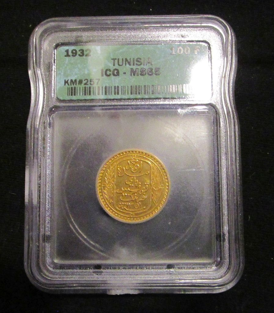 1932 Tunisia 100 Franks Gold - Graded MS65 by ICG