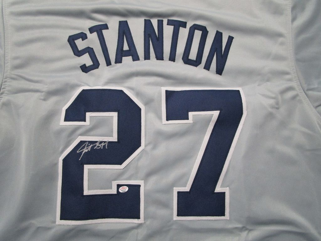 Giancarlo Stanton of the New York Yankees signed autographed baseball jersey PAAS COA 865