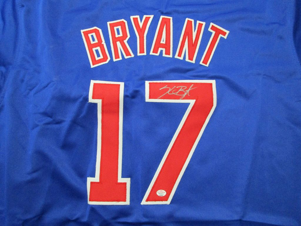 Kris Bryant of the Chicago Cubs signed autographed blue baseball jersey PAAS COA 943
