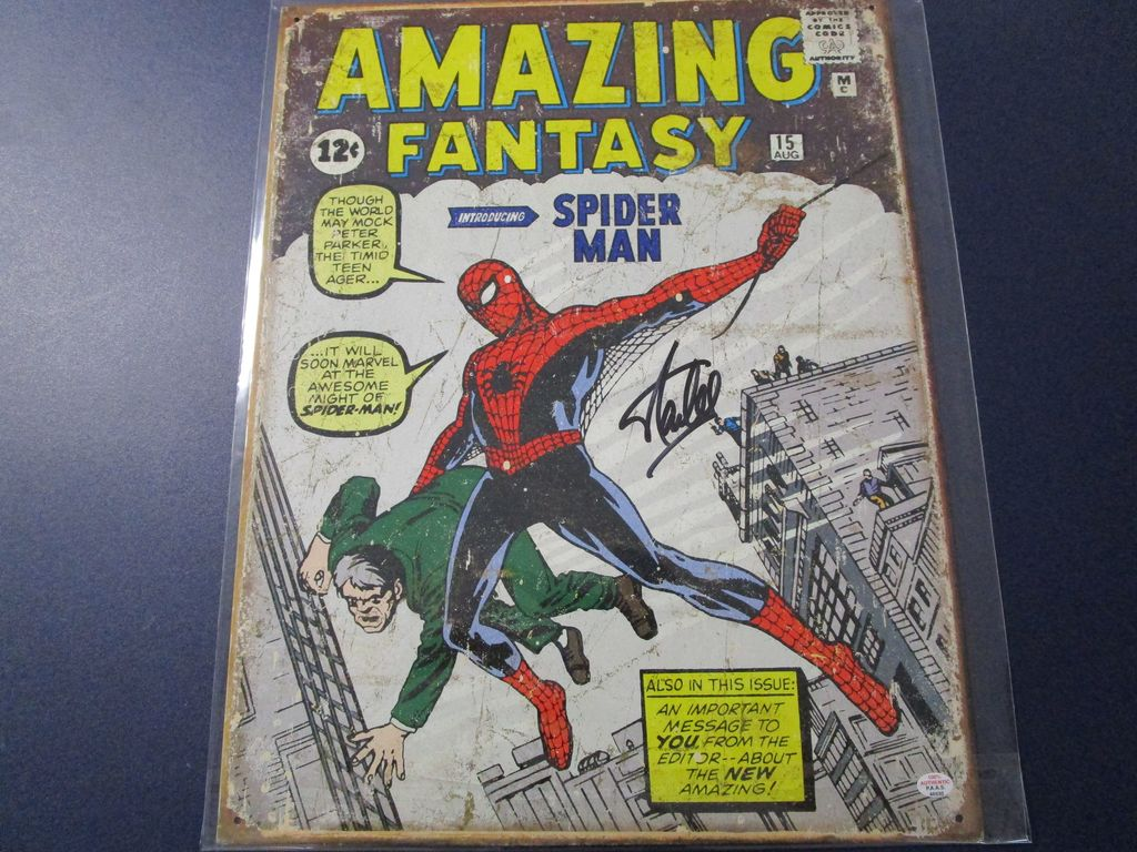 Stan Lee Amazing Fantasy Spiderman signed autographed 11.5 x 16 metal sign PAAS COA 530