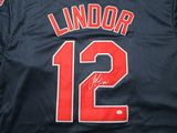 Francisco Lindor of the Cleveland Indians signed autographed baseball jersey PAAS COA 987