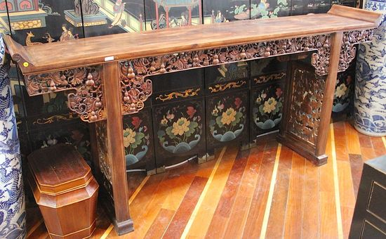 Vintage carved roseswood altar table with symbols of success