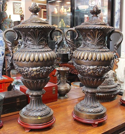 One pair Bronze Greek urns with handles