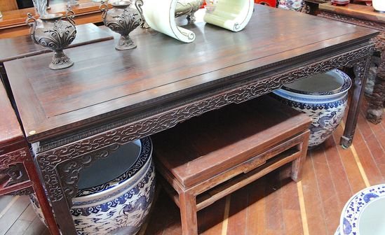 Vintage Rosewood hand carved painter's table