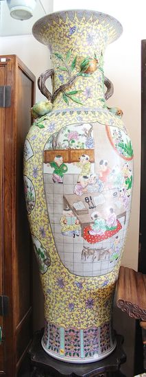 Porcelain hand painted palace vase with pomergranite handles and children design