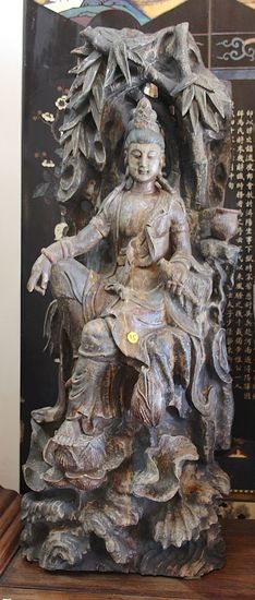 Antique wooden carved Kwan yin ( Goddess of compassion)