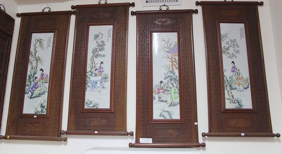 1 set of 4  Hand painted porcelain panels with carved wooden frame, theme of Chinese classic educati