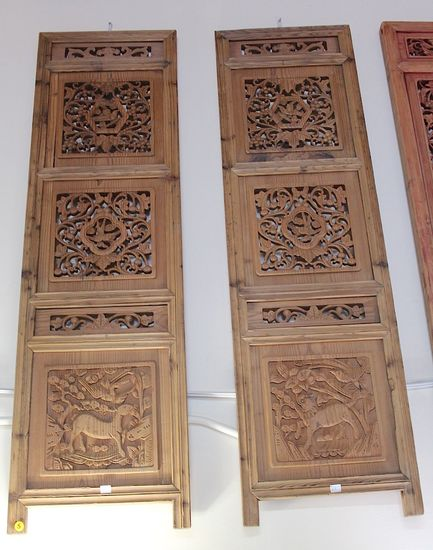 One pair  Vintage wooden hand crafted screen bring longivity and peace