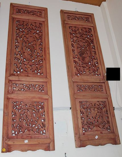 one pair Vintage wooden crafted screen with reddish brown finish bringing harmony and happy family
