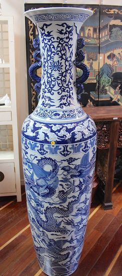 One pair  Porcelain blue and white palace vases
