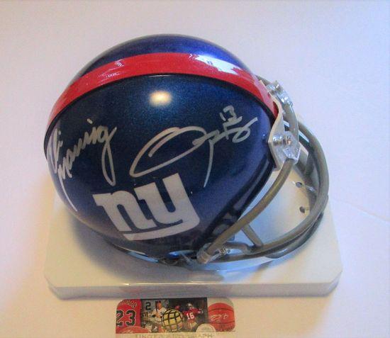 Eli Manning & Odell Beckham Jr., N Y Giants Stars, Autographed Mini Helmet w COA