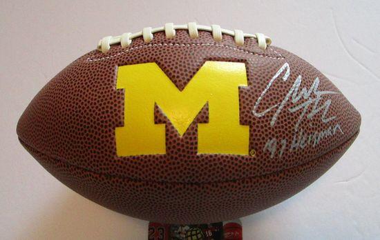 Charles Woodson, U of Michigan, Heisman Trophy Winner, Autographed Mini Football w COA