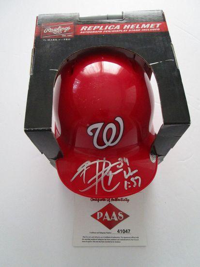 Bryce Harper, Washington Nationals, 6 time All star,Autographed Mini Helmet w COA