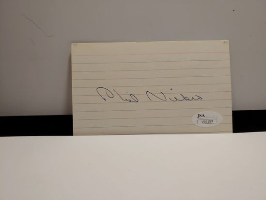 HALL OF FAME PHIL NIEKRO SIGNED 3X5 JSA COA CERTIFIED