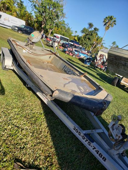 18' Tracker Heavy Aluminum Barge Mercury 60 h.p 4-Stroke Boat Trailer