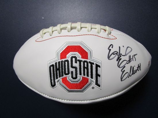 Ezekiel Elliott of the OSU Buckeyes signed autographed logo football PAAS COA 595