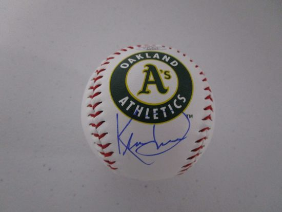 Khris Davis of the Oakland A's signed autographed logo baseball PAAS COA 667