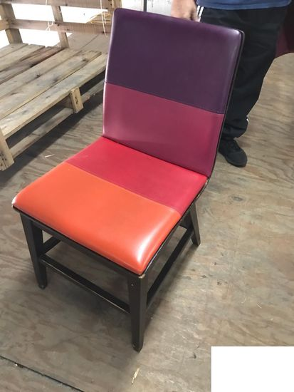 7 vinyl and wood Chairs