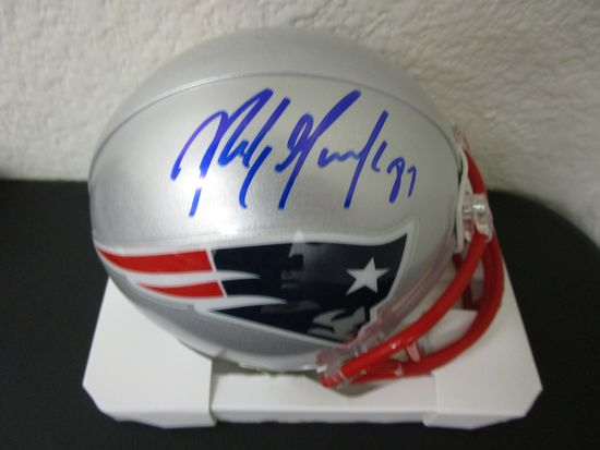 Rob Gronkowski of the New England Patriots signed autographed mini football helmet PAAS COA 487