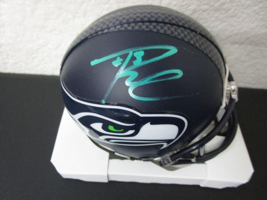 Russell Wilson of the Seattle Seahawks signed autographed mini football helmet PAAS COA 362