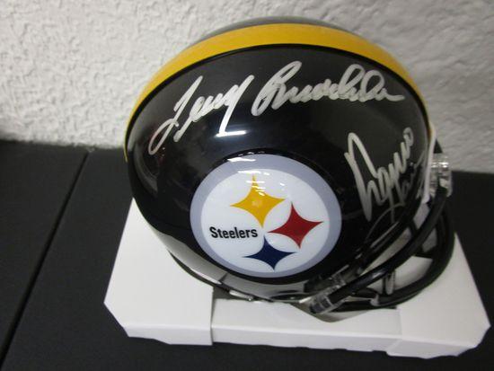 Terry Bradshaw Franco Harris of the Steelers signed autographed mini football helmet PAAS COA 408