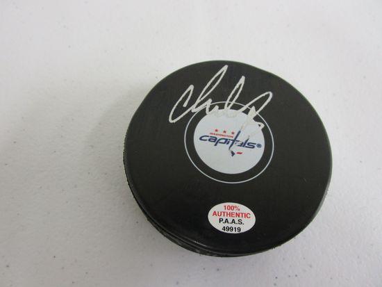 Alex Ovechkin of the Washington Capitals signed autographed logo hockey puck PAAS COA 919