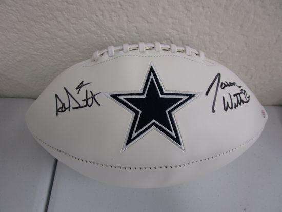 Dak Prescott Jason Witten of the Dallas Cowboys signed autographed logo football PAAS COA 045