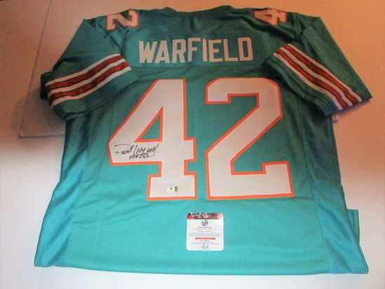 Paul Warfield, Miami Dolphins Wide Receiver, NFL Hall of Fame, Autographed Jersey w COA from Global