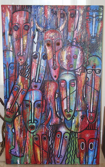 "FRED THOMAS ORIGINAL ""MASKS"", MIXED MEDIA ON CANVAS 36 X 60"