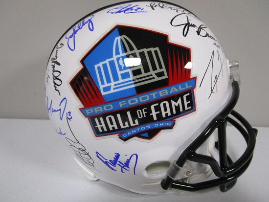 Troy Aikman Jerome Bettis Brett Favre and others signed full size Hall of Fame helmet PAAS LOA 347