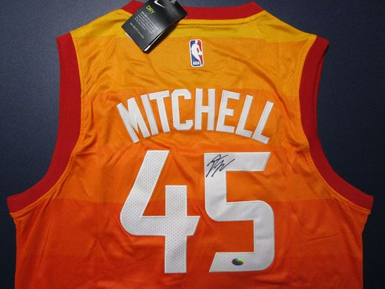 Donovan Mitchell of the Utah Jazz signed autographed basketball jersey Legends COA 105