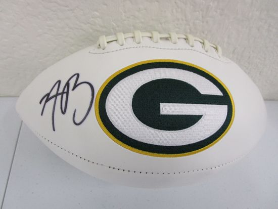 Aaron Rodgers of the Green Bay Packers signed autographed logo football ATL COA 015
