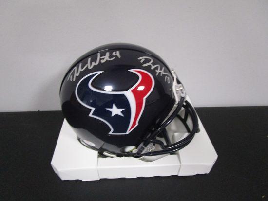 DeAndre Hopkins Deshaun Watson of the Houston Texans signed mini football helmet PAAS COA 898