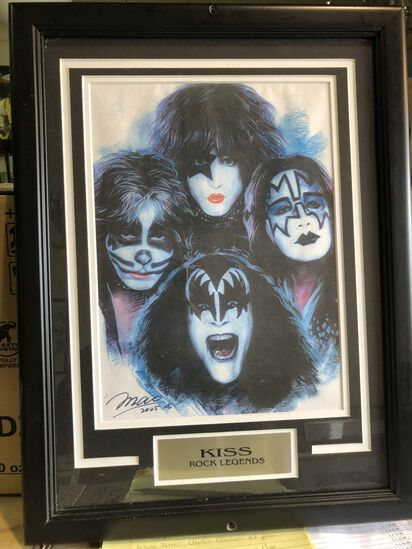 Framed Kiss Rock Legends art piece