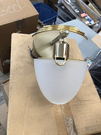 Gold Wall Sconce with Frosted Dome