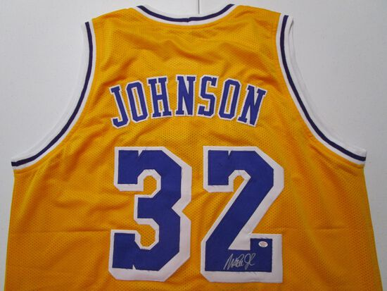 Magic Johnson of the LA Lakers signed autographed basketball jersey PAAS COA 173