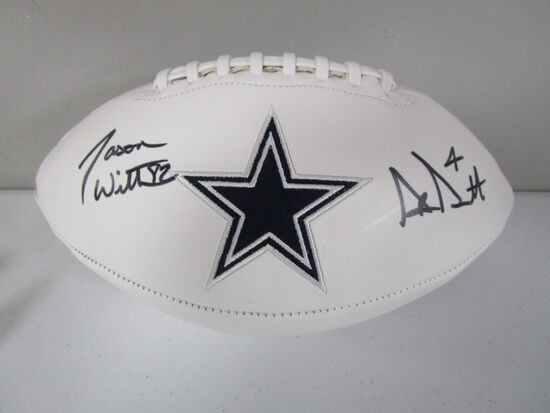 Dak Prescott Jason Witten of the Dallas Cowboys signed autographed logo football PAAS COA 048