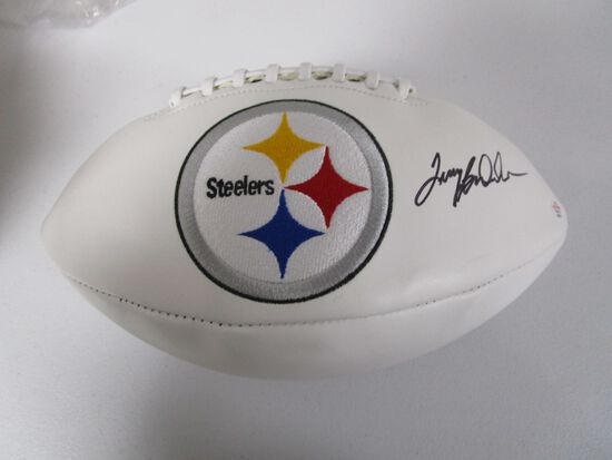 Terry Bradshaw of the Pittsburgh Steelers signed autographed logo football PAAS COA 570