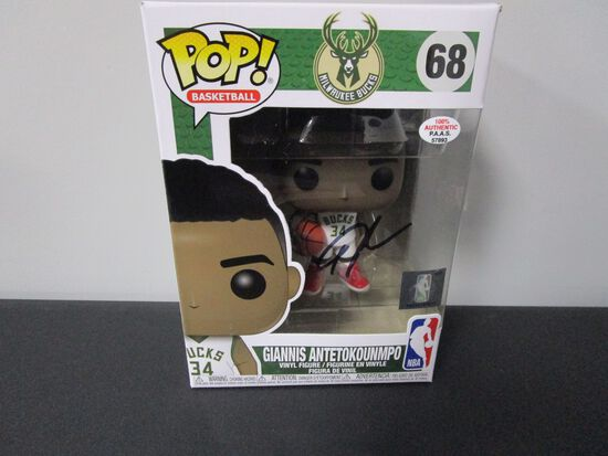 Giannis Antetokounmpo of the Milwaukee Bucks signed POP Funko Figure PAAS COA 893