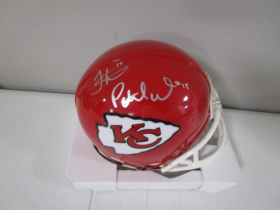 Patrick Mahomes Tyreek Hill of the Kansas City Chiefs signed mini football helmet PAAS COA 659